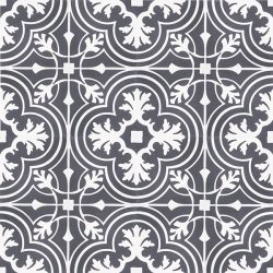 Handmade VALENCIA encaustic tile, a vintage look floral-inspired tile in white on charcoal; floor view - Rever Tiles.