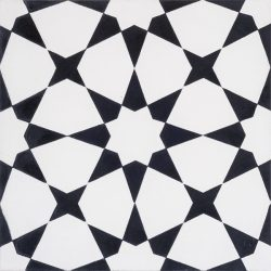 Handmade ESTRELLA encaustic tile, a highly patterned and distinctly Moroccan tile in black and white, single tile view - Rever Tiles.
