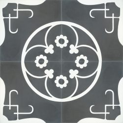 Handmade LORCA encaustic tile of old Spanish design with old-world feel in charcoal and white, four tile view - Rever Tiles.