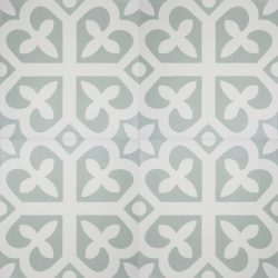 Handmade SPIRIT encaustic tile with whimsical French pattern, in pale green and white, four tile view - Rever Tiles.