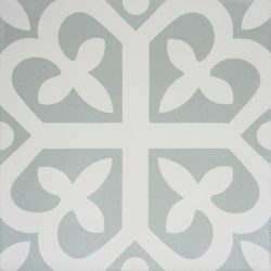 Handmade SPIRIT encaustic tile with whimsical French pattern, in pale green and white, single tile view - Rever Tiles.