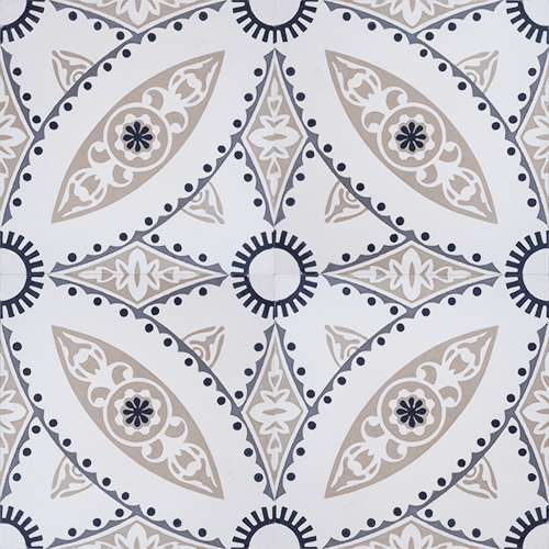 Handmade Tulle encaustic tile, with its intricate design and neutral colour scheme works perfectly in more formal spaces, such as dining rooms and hotel foyers; four tile view - Rever Tiles.