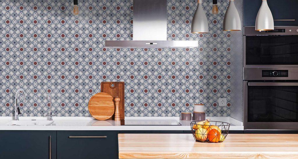 Handmade encaustic cement tiles used in a splashback in the kitchen – Rever Tiles.