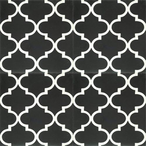 Handmade ARABESQUE encaustic tile in white on black, Moroccan style with a rhythmic pattern that exudes exotic appeal, four tile view - Rever Tiles.