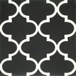Handmade ARABESQUE encaustic tile in white on black, Moroccan style with a rhythmic pattern that exudes exotic appeal, single tile view - Rever Tiles.