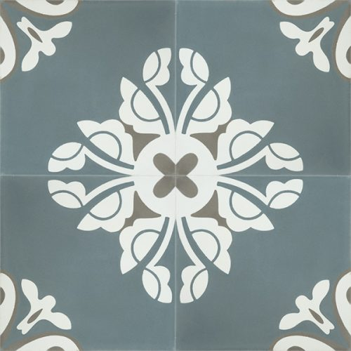 Handmade BELLE encaustic tile, a charming design in stylish and on trend steel-teal creates a tranquil and calming atmosphere; four tile view - Rever Tiles.