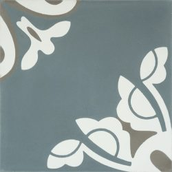 Handmade BELLE encaustic tile, a charming design in stylish and on trend steel-teal creates a tranquil and calming atmosphere; single tile view - Rever Tiles.