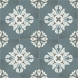 Handmade BELLE encaustic tile, a charming design in stylish and on trend steel-teal creates a tranquil and calming atmosphere; floor view - Rever Tiles.