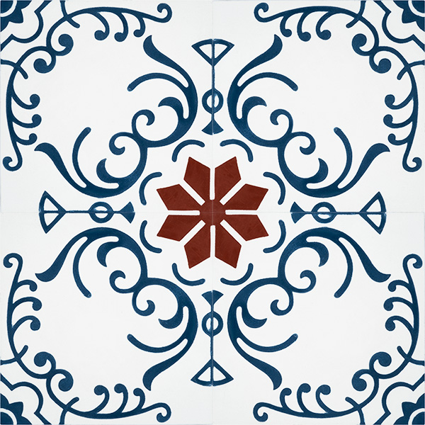 Our Tendril encaustic tile, that's full of colour and pattern, adorned with blue swirls encircling a red eight-pointed star that echoes back to traditional designs, is one of a kind; four tile view - Rever Tiles.