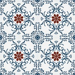 Our Tendril encaustic tile, that's full of colour and pattern, adorned with blue swirls encircling a red eight-pointed star that echoes back to traditional designs, is one of a kind; floor view - Rever Tiles.