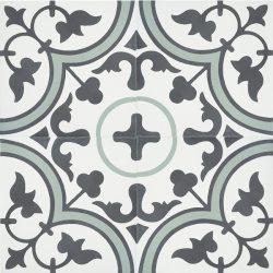 Handmade TREFLE encaustic tile with endearing traditional clover design in graphite and white with a splash of moss green, four tile view - Rever Tiles.