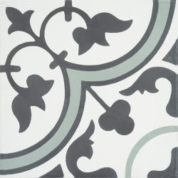 Handmade TREFLE encaustic tile with endearing traditional clover design in graphite and white with a splash of moss green, single tile view - Rever Tiles.