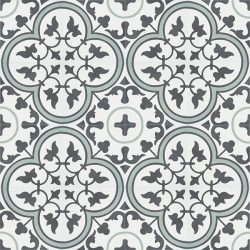 Handmade TREFLE encaustic tile with endearing traditional clover design in graphite and white with a splash of moss green, floor view - Rever Tiles.
