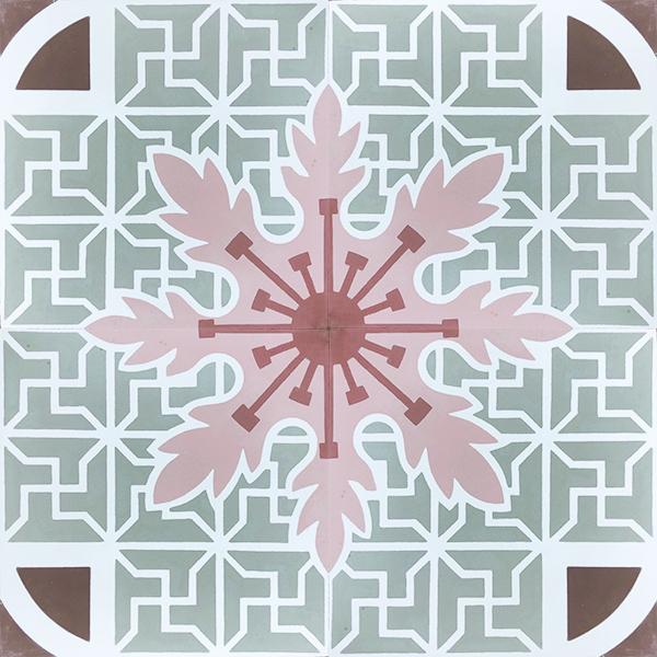 Handmade CUBA encaustic tile in an elaborate Cuban pattern, four tile view - Rever Tiles.