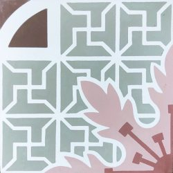 Handmade CUBA encaustic tile in an elaborate Cuban pattern, single tile view - Rever Tiles