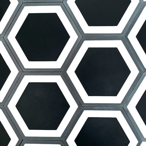 Handmade HONEYCOMB encaustic tile in a contemporary design, four tile view - Rever Tiles.