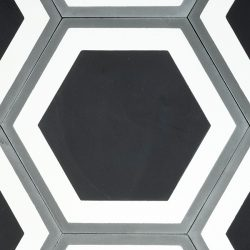 Handmade HONEYCOMB encaustic tile in a contemporary design, single tile view - Rever Tiles.