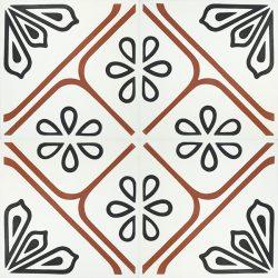 Handmade JOYA encaustic tile with eye-catching bold red linework, four tile view - Rever Tiles.