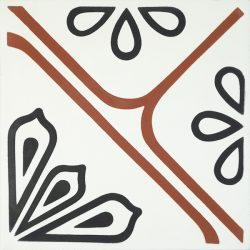 Handmade JOYA encaustic tile with eye-catching bold red linework, single tile view - Rever Tiles.