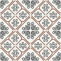 Handmade JOYA encaustic tile with eye-catching bold red linework, floor view - Rever Tiles.