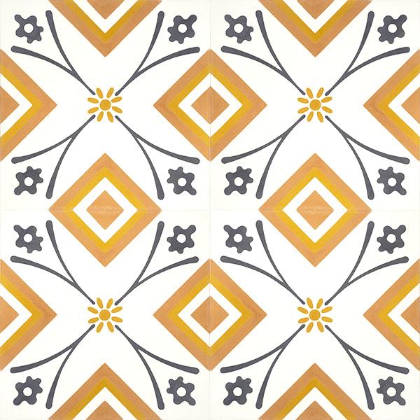 Handmade SOLAIRE encaustic tile of contemporary design, four tile view - Rever Tiles.