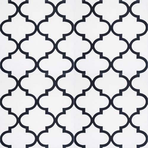 Handmade ARABESQUE encaustic tile in black on white, Moroccan style with a rhythmic pattern that exudes exotic appeal, four tile view - Rever Tiles.