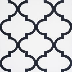 Handmade ARABESQUE encaustic tile in black on white, Moroccan style with a rhythmic pattern that exudes exotic appeal, single tile view - Rever Tiles.