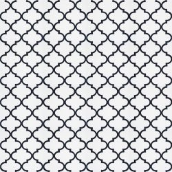 Handmade ARABESQUE encaustic tile in black on white, Moroccan style with a rhythmic pattern that exudes exotic appeal, floor view - Rever Tiles.