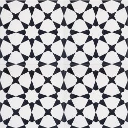Handmade ESTRELLA encaustic tile, a highly patterned and distinctly Moroccan tile in black and white, four tile view - Rever Tiles.