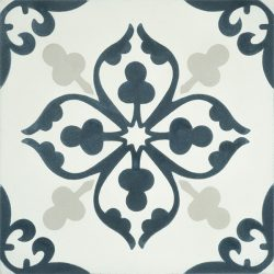 Add character and fresh dimension to any room with our Floret encaustic tile in dark teal and white. Single tile view - Rever Tiles.