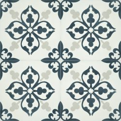 Add character and fresh dimension to any room with our Floret encaustic tile in dark teal and white. Four tile view - Rever Tiles.