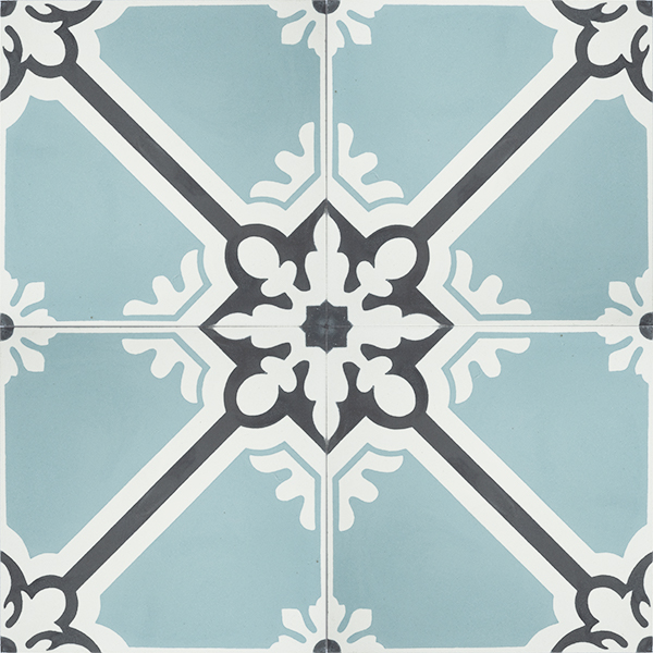 Handmade ANDALUCIA encaustic tile, a somewhat regal design where geometric and floral motifs interplay. Four tile view - Rever Tiles.