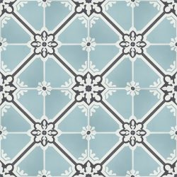 Handmade ANDALUCIA encaustic tile, a somewhat regal design where geometric and floral motifs interplay. Floor view - Rever Tiles.