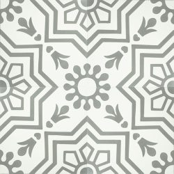 Handmade AZTEC decorative encaustic tile, with subtle grey on white and soft contrast in a pattern that is not overbearing, four tile view - Rever Tiles.