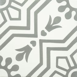 Handmade AZTEC decorative encaustic tile, with subtle grey on white and soft contrast in a pattern that is not overbearing, single tile view - Rever Tiles.