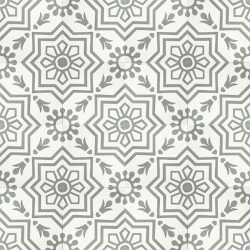 Handmade AZTEC decorative encaustic tile, with subtle grey on white and soft contrast in a pattern that is not overbearing, floor view - Rever Tiles.