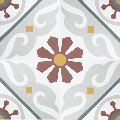 Handmade BARCELONA encaustic tile, vibrant, colourful and traditionally Spanish, yet still retaining a sense of balance. Four tile view - Rever Tiles.