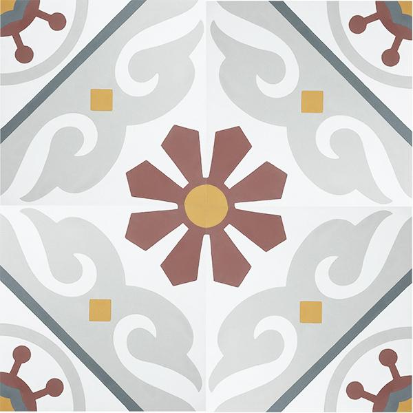 Handmade BARCELONA encaustic tile, vibrant, colourful and traditionally Spanish, yet still retaining a sense of balance. Four tile view - Rever Tiles.
