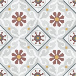 Handmade BARCELONA encaustic tile, vibrant, colourful and traditionally Spanish, yet still retaining a sense of balance. Floor view - Rever Tiles.