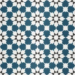Handmade CASABLANCA encaustic tile with an authentic Moroccan design; opulent, colourful and beautifully detailed, four tile view - Rever Tiles.