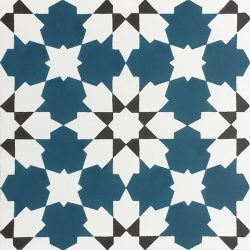 Handmade CASABLANCA encaustic tile with an authentic Moroccan design; opulent, colourful and beautifully detailed, single tile view - Rever Tiles.