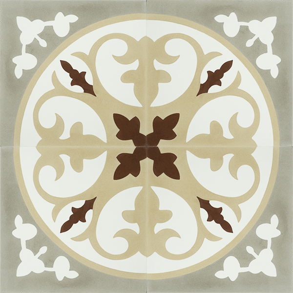 CORONA, a beautiful Spanish handmade encaustic tile with warm, earth tones. A perfect kitchen floor tile that captures the soul of the Mediterranean. Four tile view - Rever Tiles.