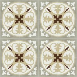 CORONA, a beautiful Spanish handmade encaustic tile with warm, earth tones. A perfect kitchen floor tile that captures the soul of the Mediterranean. Floor view - Rever Tiles.