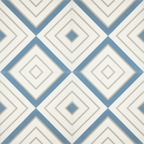 Handmade CRYSTAL encaustic tile, a moniker of luxury and elegance, brandishes diamonds of celestial blue and bone on white. Four tile view - Rever Tiles.