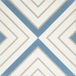 Handmade CRYSTAL encaustic tile, a moniker of luxury and elegance, brandishes diamonds of celestial blue and bone on white. Single tile view - Rever Tiles.