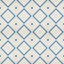 Handmade CRYSTAL encaustic tile, a moniker of luxury and elegance, brandishes diamonds of celestial blue and bone on white. Floor view - Rever Tiles.