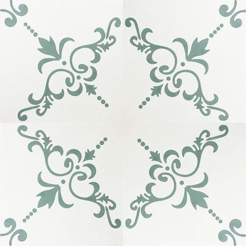 Handmade DALMATIA encaustic tile with cues of Eastern European design, delicate and nostalgic in heritage shades of off-white and green. Four tile view - Rever Tiles.