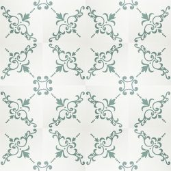 Handmade DALMATIA encaustic tile with cues of Eastern European design, delicate and nostalgic in heritage shades of off-white and green. Floor view - Rever Tiles.