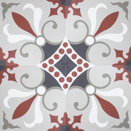 Handmade HAVANA encaustic tile in warm red, greys and white, is fun and colourful. An eclectic design of Cuban origin, four tile view - Rever Tiles.