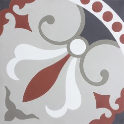 Handmade HAVANA encaustic tile in warm red, greys and white, is fun and colourful. An eclectic design of Cuban origin, single tile view - Rever Tiles.